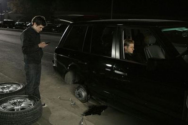 Seth and Ryan in broken down car